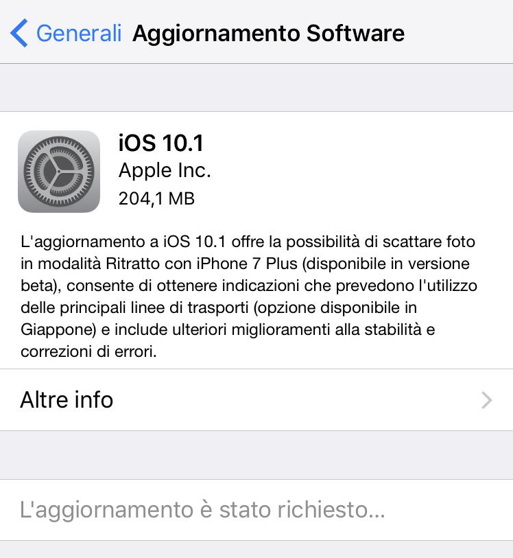 aggiornamento iOS 10.1